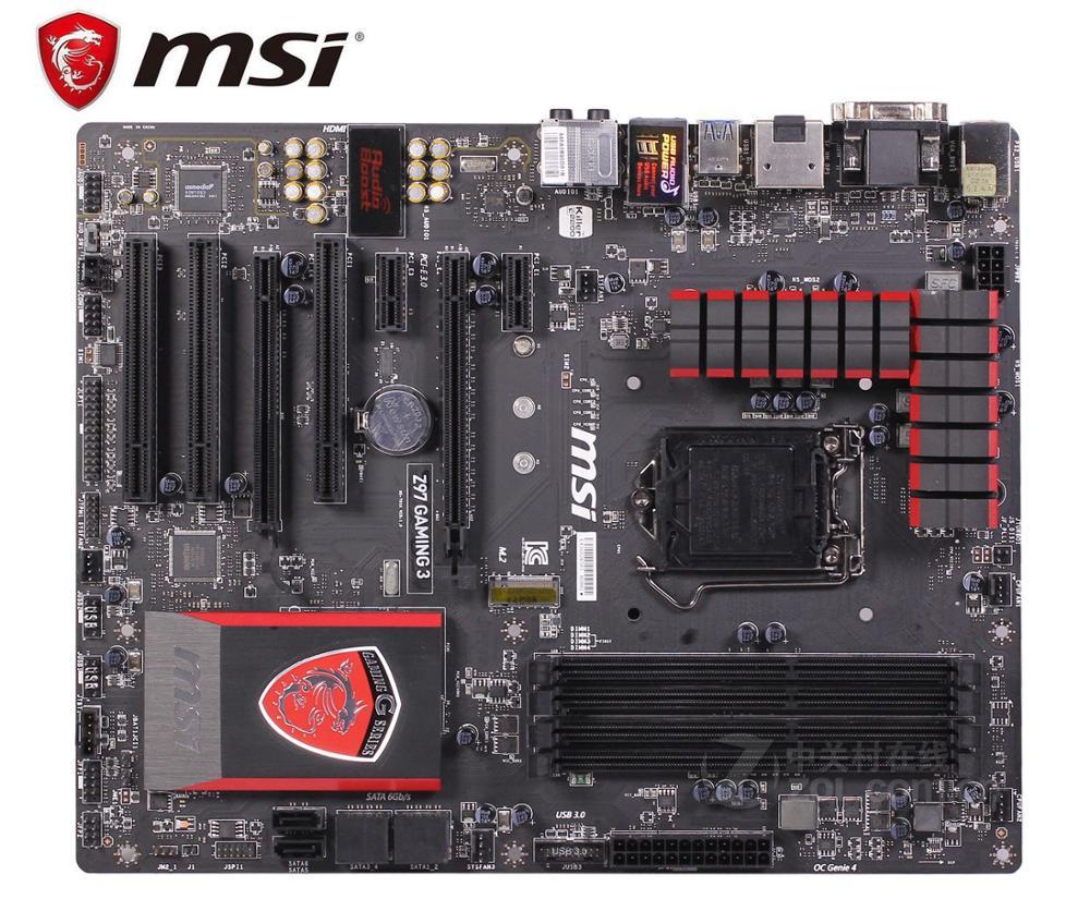 Bilgisayar ve Ofis'ten Anakartlar'de MSI Z97 OYUN 3 orijinal anakart DDR3 LGA 1150 panoları 32GB USB2.0 USB3.0 Z97 kullanılan masaüstü anakart Ücretsiz kargo title=