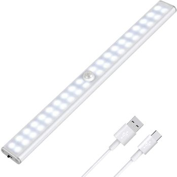 Closet Light PIR Motion Sensor Cabinet Lights 24/40/60 LED USB Rechargeable Lighting Wall Lamp for Bedroom Wardrobe Stairs 1