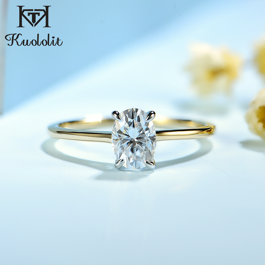 Kuololit 100% Natural Moissanite 10K Yellow Gold Rings for Women Oval Solitaire Gemstone Rings for Engagement Bride anniversary