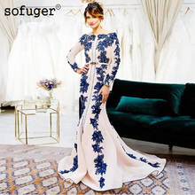 Синие платья для матери невесты с аппликацией вечерние платья Morrocan Кафтан Vestido de Renda жениха костюмы для матери с длинными рукавами