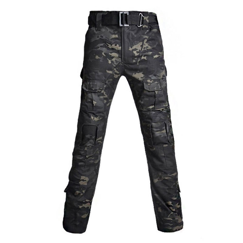 Tactical Military Pants Mens Camouflage Army Hunter Pants With Knee Pads Pockets Paintball Combat Cargo Pant Camo Long Trousers