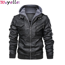 New Autumn/Winter Men PU Leather Hoodie Jacket High Quality Classic Fashion Motorcycle 2019 Hot Sales Male