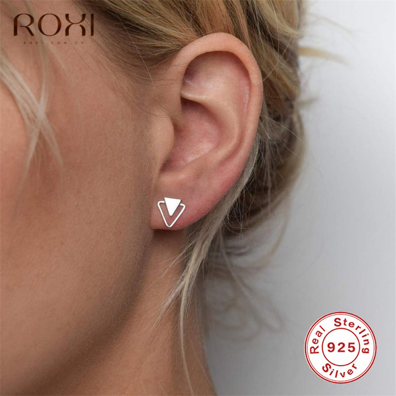 ROXI 925 Sterling Silver Earrings For Women Personality Triangle Stud Earrings Korean Fashion Jewelry Geometric Earing Girl Gift