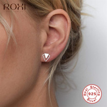 ROXI 925 Sterling Silver Earrings for Women Personality Triangle Stud Earrings Korean Fashion Jewelry Geometric Earing Girl Gift