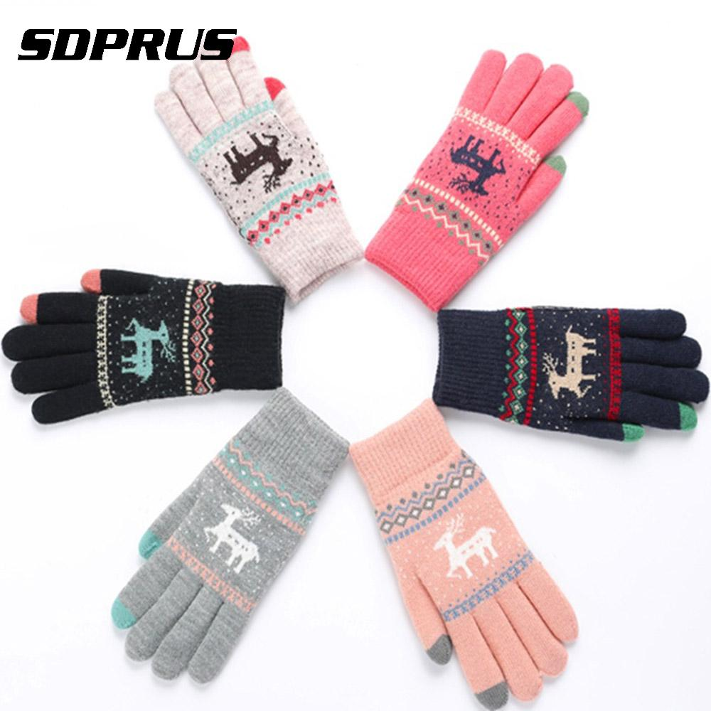 Women Thicken Warm Touch Screen Knitted Gloves Christmas Deer Knitted Gloves Windproof Full Finger Mittens Gloves For Cycling