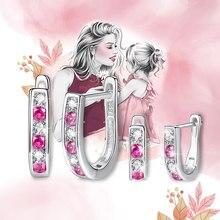 ELESHE-boucles d'oreilles en argent Sterling 925, ronde, cristal en zircone, boucles d'oreilles, cadeau de noël, pour enfants, bijoux à la mode