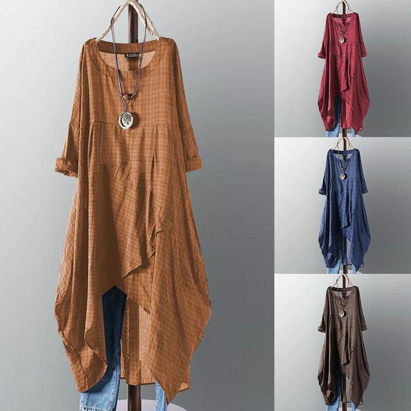 Asymmetrical Dress Women's Check Dress 2020 ZANZEA Female Long Sleeve Check Plaid Vestidos Summer Sundress Casual Robe Femme 5XL