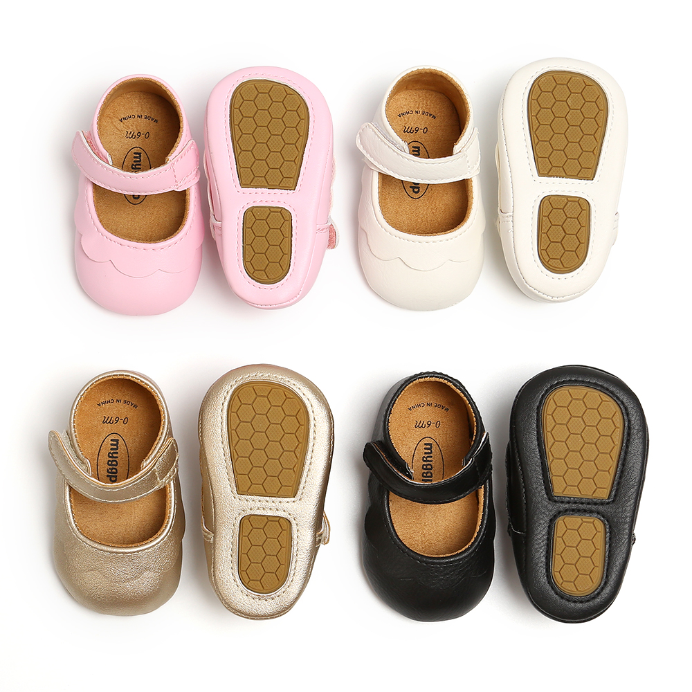 2020 Spring Cute Baby Shoes Princess Shoes Pink Petals Velcro Solid Color PU Comfortable Hard Sole Mary Jane Shoes 0-18M