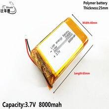 3.7v, bateria do íon do lítio do polímero de qulity da bateria da energia de 8000mah 254065 litros boa/bateria do li-íon para o banco do pc da tabuleta, gps, mp3,mp4