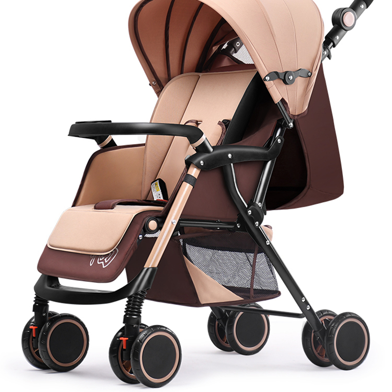 Wisdom Music Stroller Can Sit Reclining Lightweight Folding Four-wheel Shock Newborn Baby Stroller Baby Stroller
