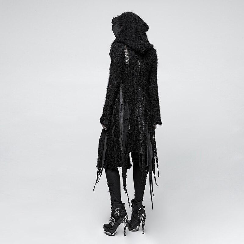 PUNK RAVE Gothic Vampire Performance Women Black Long Trench Coat Asymmetric Hole Knit Irregular Halloween Witch Outwear Coat