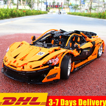 2019 Technic MOC Super 1:8 P1 Racers Parts Orange Sports Racing Car Building Blocks Sets Kits Bricks Kid Gift Boy Toy Compatible цена