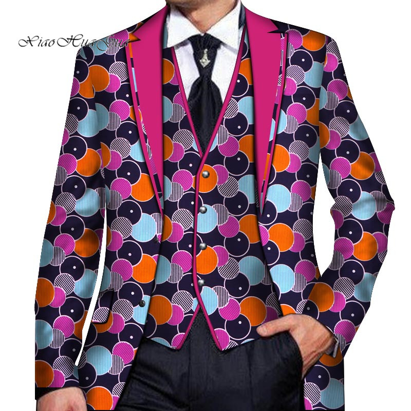 2020 Men Customized Blazer African Print Dashiki Men Clothes Wedding Party Suit Blazer Jacket Tops Coat Mens Suits Jacket WYN766