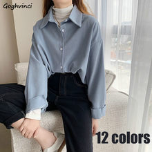 Camisas, mujeres elegante-encuentro de otoño colorido elegante coreano estilo Retro OL Simple nueva moda camisa de ocio Ulzzang
