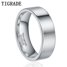 6mm High Polished Mens Tungsten Ring Male Wedding Band For Women Flat Carbide Engagement Rings Comfort Fit