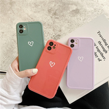 INS Cute Love Heart Phone Case For iPhone 12 Pro Max 11 XS Max XR X 7 8 Plus 12 Mini SE 2020 Camera Protection Candy Color Shell