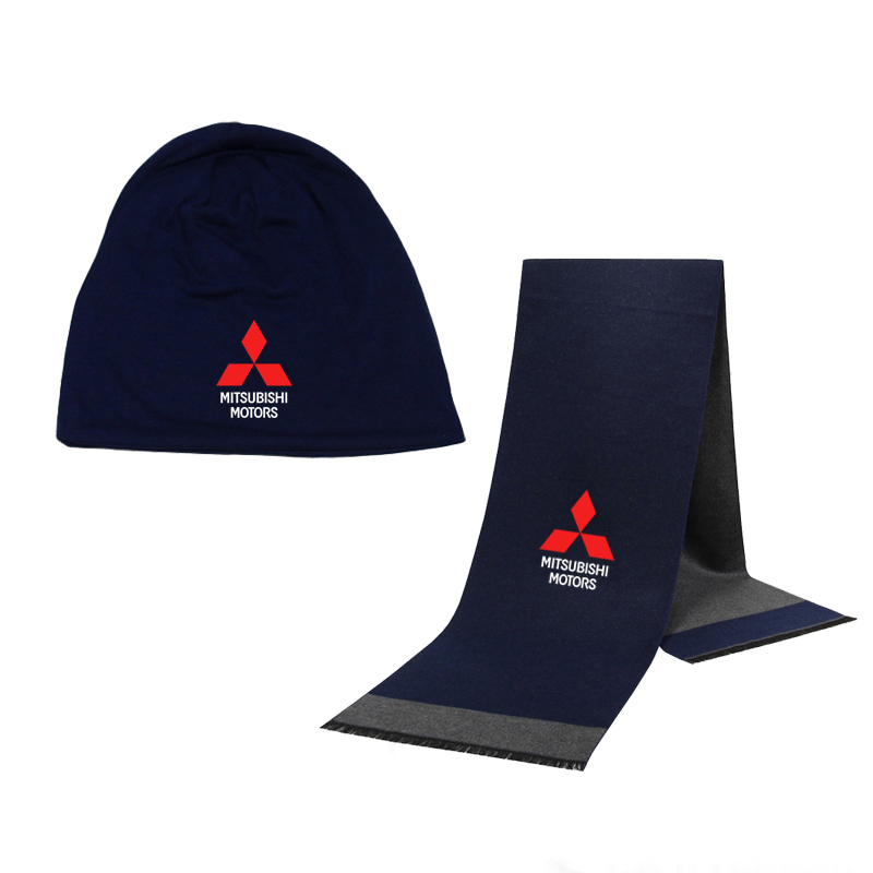 Winter Beanie Hat Mitsubishi Car Logo Men Hat Scarf Solid Color Warm Cotton Scarf Hat Set Male Female Sports Hat Scarf Set 2 Pcs