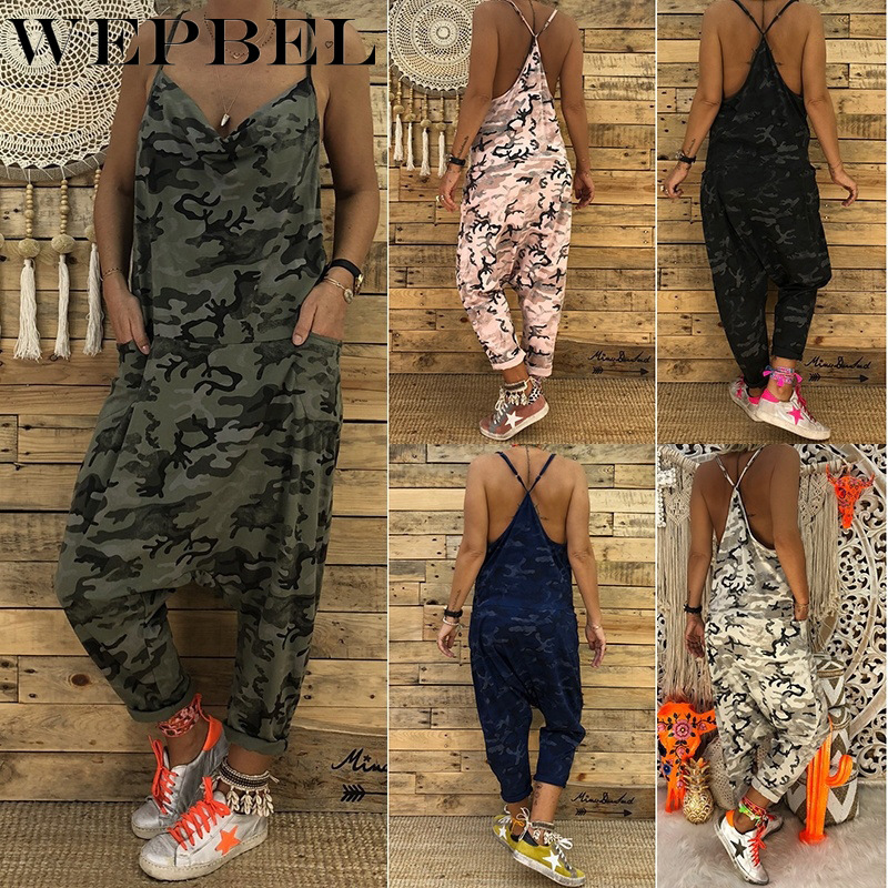 WEPBEL Women New Strap Jumpsuit Camouflage Sleeveless Fashion Casual Summer Ladies Jumpsuits