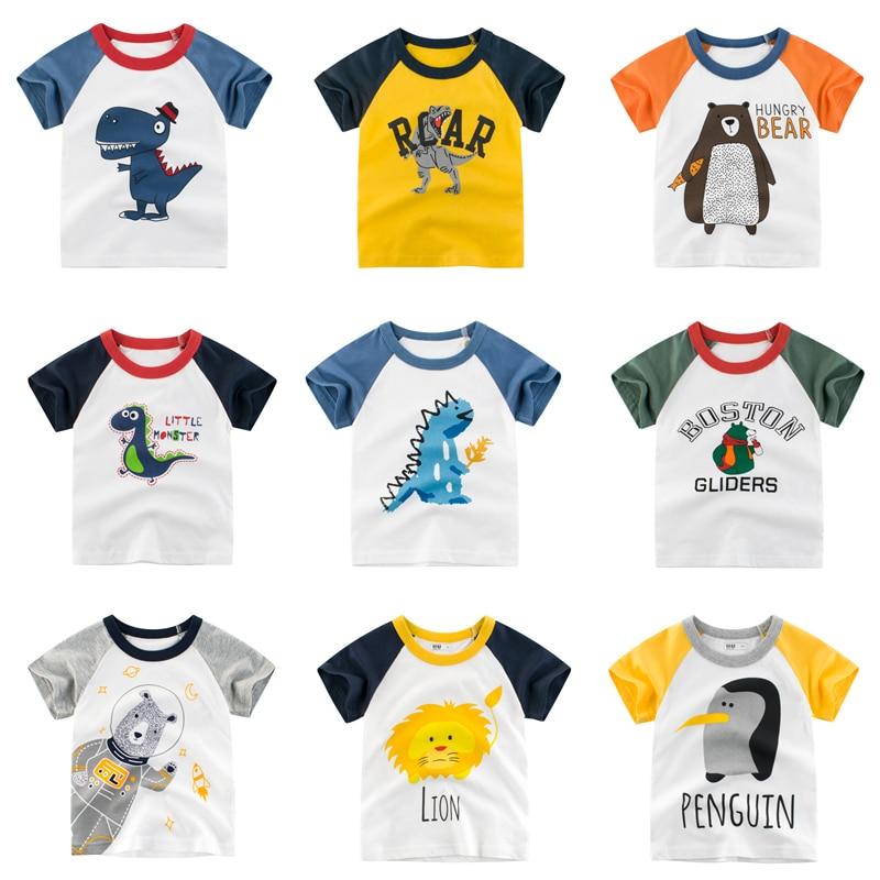 Summer Children T-shirts Cartoon Dinosaur Printing Kids Short Sleeve T Shirt For Boys Little Girls Cotton Tops Clothing