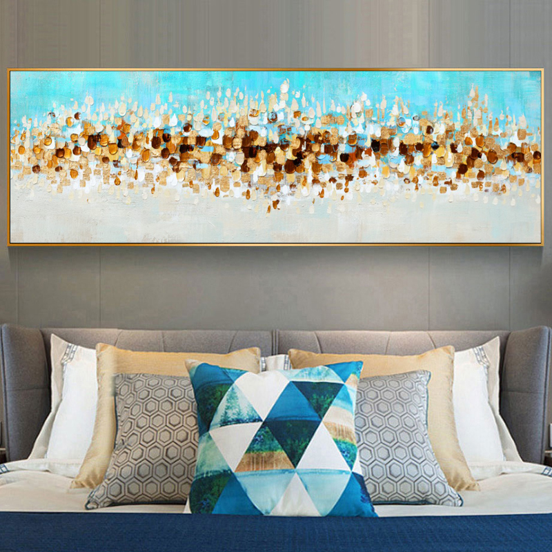 Modern Abstract Oil Painting on Canvas Poster Print Wall Art Abstract Money Wave Pictures for Living Room Cuadros Decor No Frame