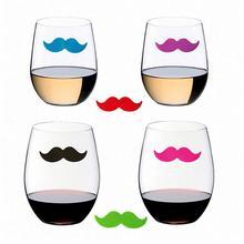 6 шт. Силиконовый красный маркер на стакан для вина маркер напитков креативные усы форма стеклянная идентификация маркер(смешанный