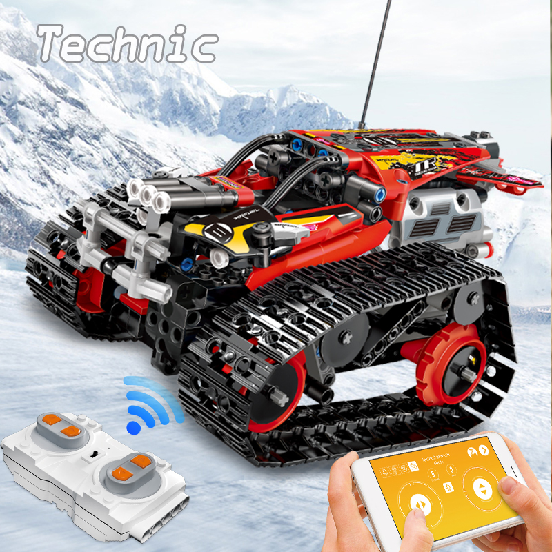 Technic RC Car Tracked Race Stunt Car Building Blocks APP Raido Remote Control Truck Toys For Children