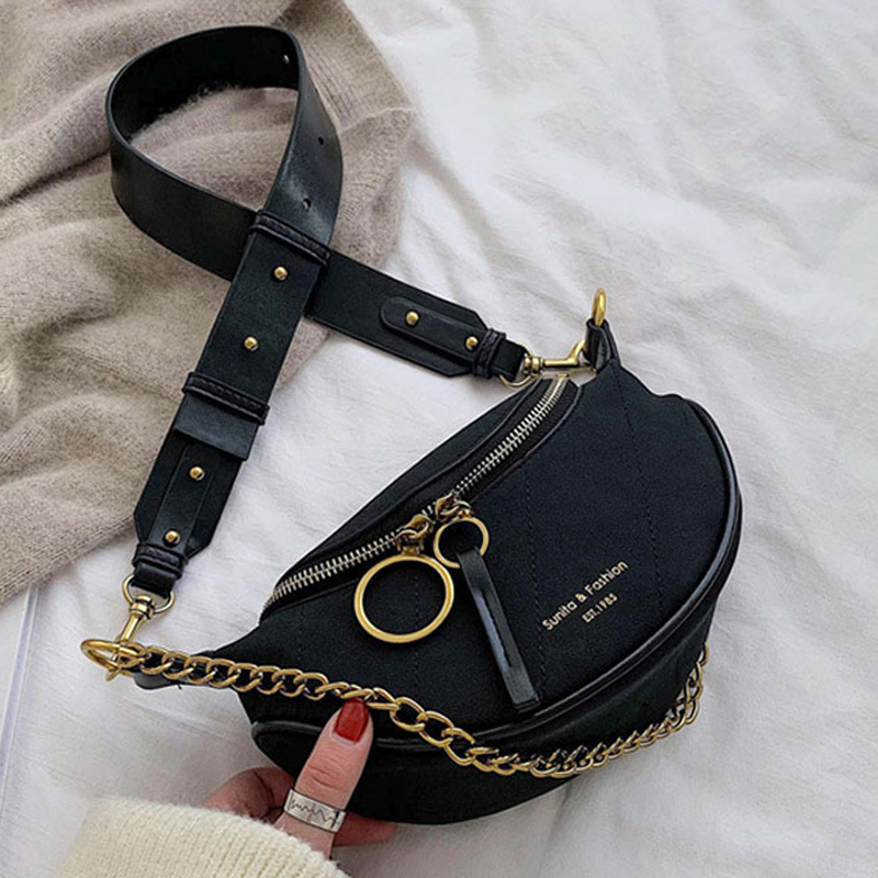 Luxury Brand Designed Waist Bag Chain Strap Fanny Pack 2019 Fashion Pu Leather Women's Waist Packs Bags Messenger Chest Bag New