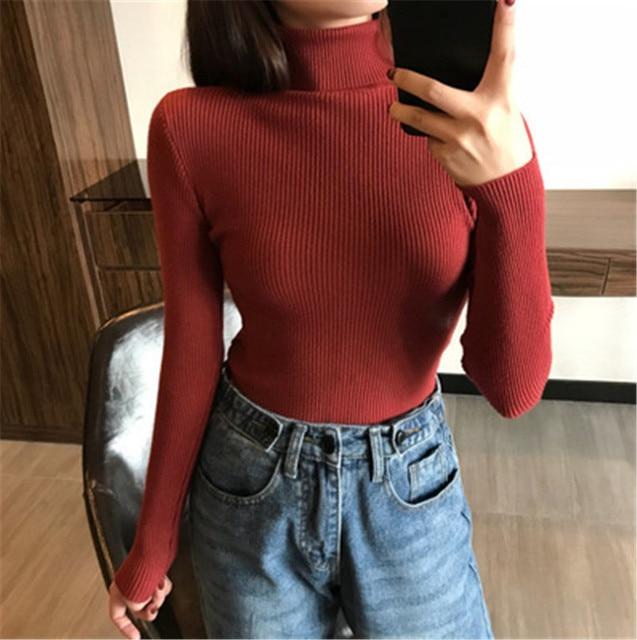 Basic Turtleneck Women Sweaters 2020 Autumn Winter Tops Korean Slim Women Pullover Knitted Sweater Jumper Soft Warm Pull Femme 4