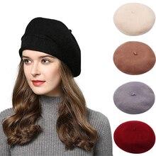 Зимний теплый однотонный берет для женщин фетровая шерсть французские береты Лолиты шапки для женщин девочек унисекс Весна Открытый красивый