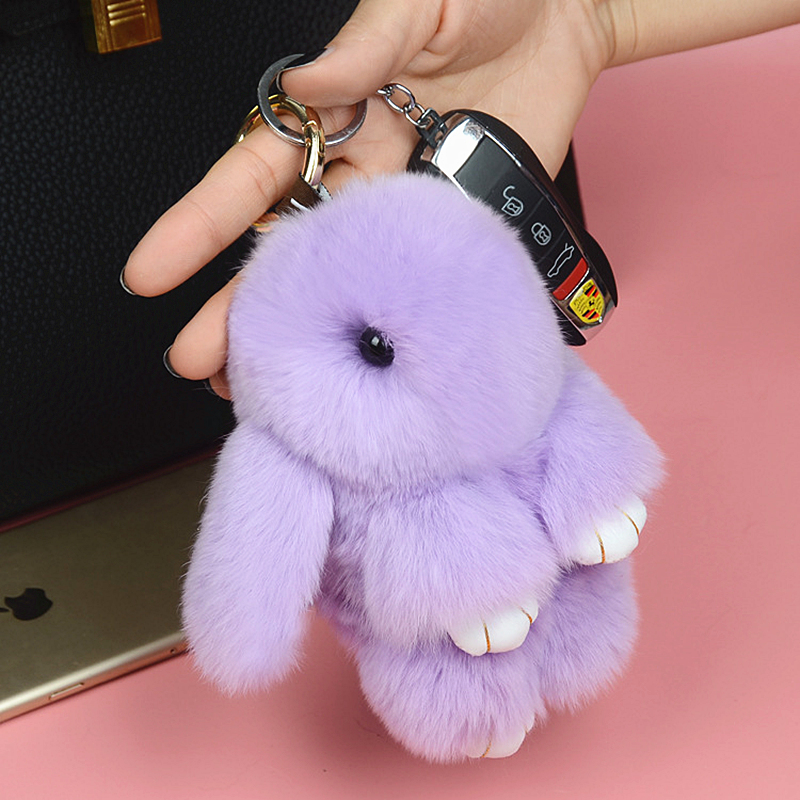 Hot Cute Mini Genuine Rabbit Fur Pom Pom Bunny Key Chain Women Toy Doll Bag Car Key Ring Monster Trinket Rabbit Keychain Jewelry