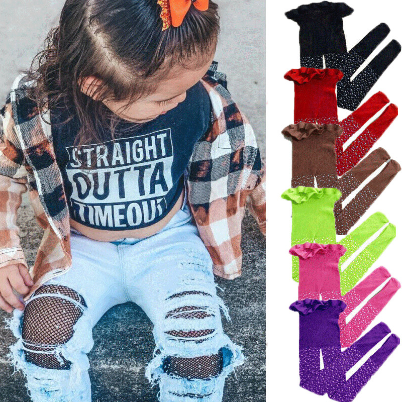 2019 Toddler Kids Girls Children Mesh Fishnet Net Tights Diamond Pantyhose Stockings Rhinestone Shine Fashion Casual Stockings