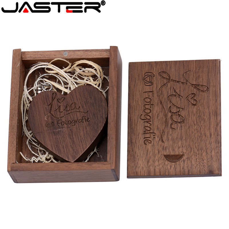 JASTER Wooden Heart+B Custom LOGO 64GB Usb Flash Drive Memory Stick Pen Drive 8gb 16gb 32gb Company Logo Engravee