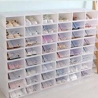 HOT 6PCS Thicken Shoes Box Thickened Transparent Drawer Case Plastic Shoe Boxes Stackable Box Shoe Organizer storage Shoe rack