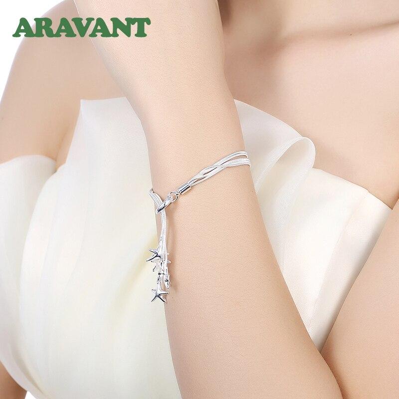 925 ensembles de bijoux en argent étoile de mer collier Bracelet ensemble de bijoux de mariage pour les femmes 4