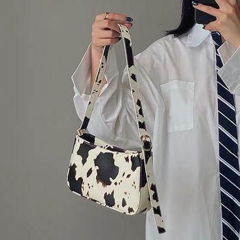 Fashion Design Milk Cow Print Women Underarm Baguette Handbags Vintage PU Leather Girls Shoulder Messenger Bags Women Armpit Bag