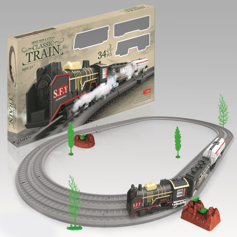 DIY Assembled Electric Rail Train Model Model Classic Steam Vintage Train CHILDREN'S Toy Set
