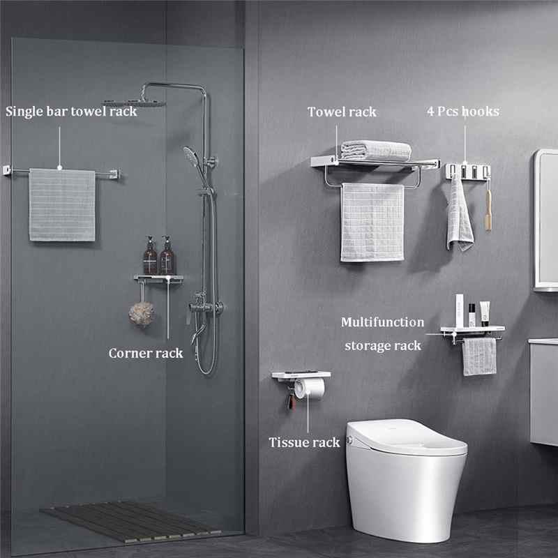 newest stainless steel bathroom hardware set towel rack toilet paper holder towel bar hook bathroom accessories simple design