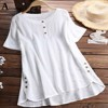 2020 Plus size 4xl 5xl Women Tops Patchwork Fake Buttons Solid Casual Blouses Irregular Female Summer Loose Blusas Shirts 1