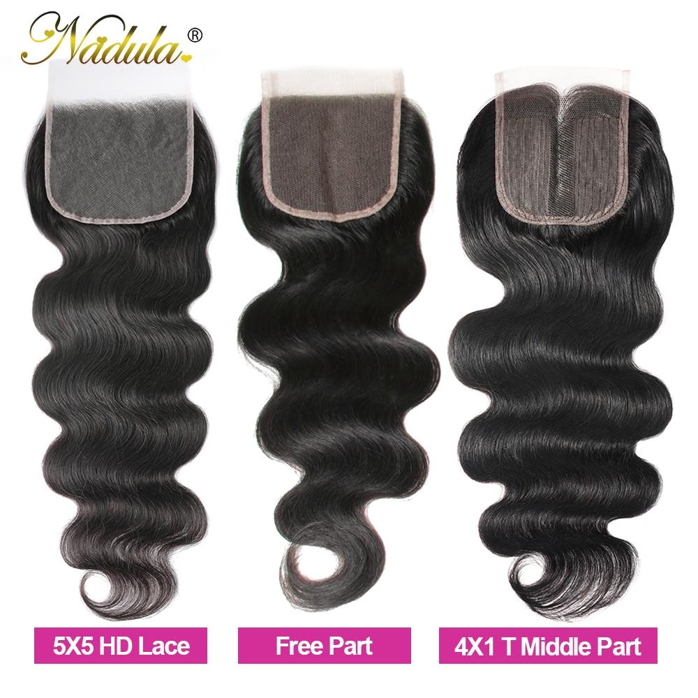 Nadula Hair 5x5 HD Lace Closure Middle Part /Free Part  Body Wave Closure 10-20INCH Swiss Lace Closure 100%  3