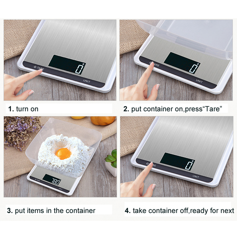 Принимает массу весом до 5 кг/10 кг кухонные весы, модное кольцо из нержавеющей стали, ЖК-дисплей цифровые весы 1 г Электронные весы еда выпечка весовая шкала-5