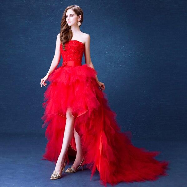 Puffy 2019 haut bas robes de bal rouge à plusieurs niveaux Tulle jupe Rose fleurs robes de soirée pas cher robe longo para festa