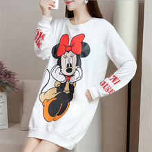 Streetwear Autumn Thin Long Sleeve Black Dress Minnie Mickey Cartoon Printed Plus Size Casual Loose Women Mini