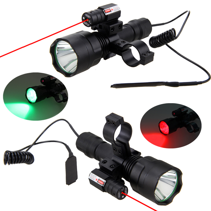 Tactical LED Hunting Flashlight  Red Green White Rifle Torch +Laser Dot Sight Scope +Remote Switch+ 20mm Rail Barrel Mount