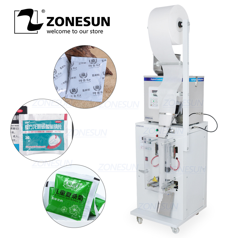 ZONESUN Automatic 1-50G Dry And Massive Power Filling Hardware Nut Automatic Powder Tea Surge Sealing Packing Machine