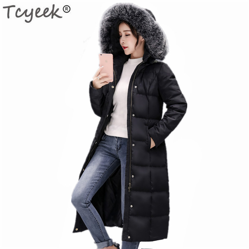 2020 Winter Jacket Women Big Fur Coat White Duck Down Jackets Korean Fashion Long Ladies Clothes Jaqueta Feminina LWL744