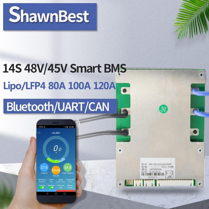 14s inteligentny bms 80a 100a 120a bluetooth 48v li-ion wspólny port APP stan baterii bilans lfp4 ebike rower bateria litowa pcm