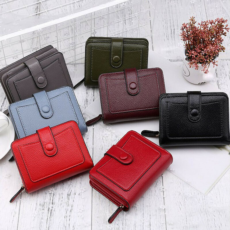 New Arrival Fashion Women's Girl Short Small Wallet Lady Leather Folding Coin Card Holder Money Purse Standard Short Wallets