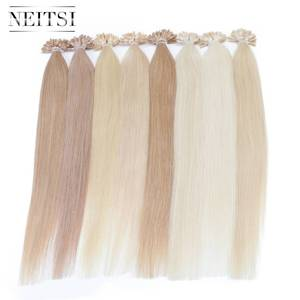 "Neitsi Straight Keratin Capsules Human Fusion Hair Nail U Tip Machine Made Remy Pre Bonded Hair Extension 16"" 20"" 24"" 28""(China)"