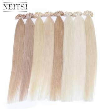 Прямые кератиновые капсулы Neitsi, человеческие накладные волосы для ногтей, u-образные накладные волосы Remy, 16