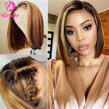 Highlight Bob Wig 13x6x1 Lace Front Human Hair Wigs Brazilian Straight Ombre T Part Lace Closure Wig Short Bob Human Hair Wig